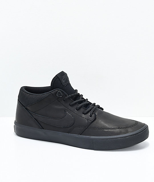 357308b32c3fb2 Nike SB Portmore II Mid Premium Bota Black Skate Shoes