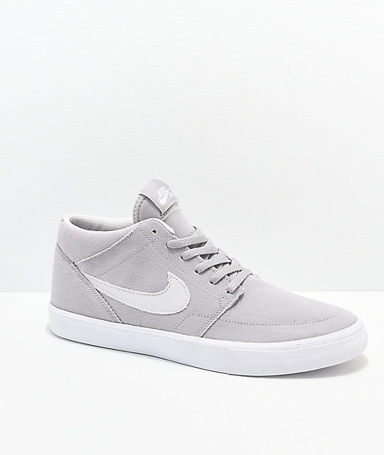 classic styles for whole family sale Nike SB Portmore II Mid Atmosphere Grey & White Skate Shoes