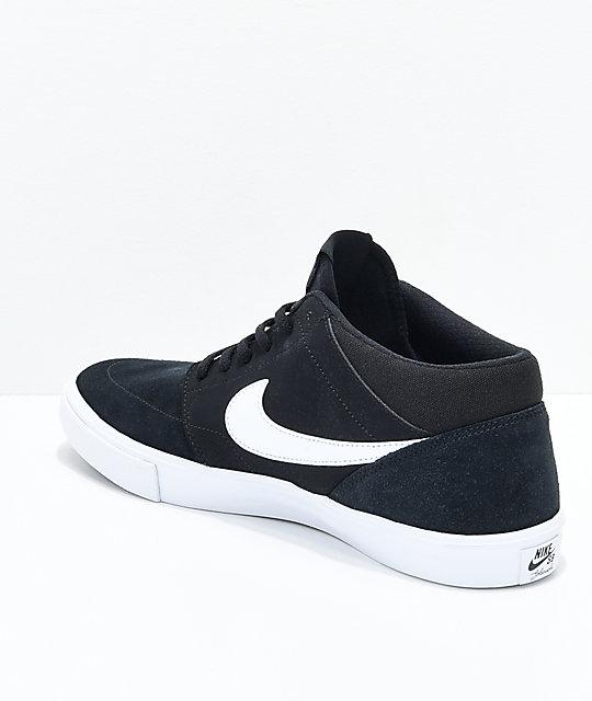 ... Nike SB Portmore II Mid Black & White Skate Shoes ...
