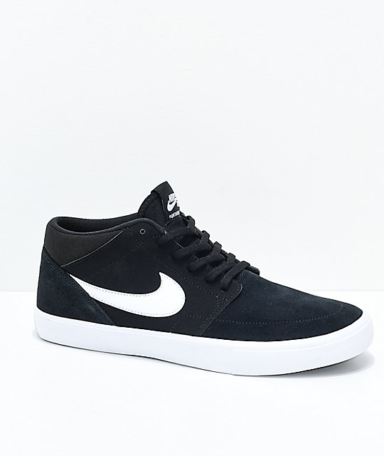 Nike SB Portmore II Mid Black & White Skate Shoes ...