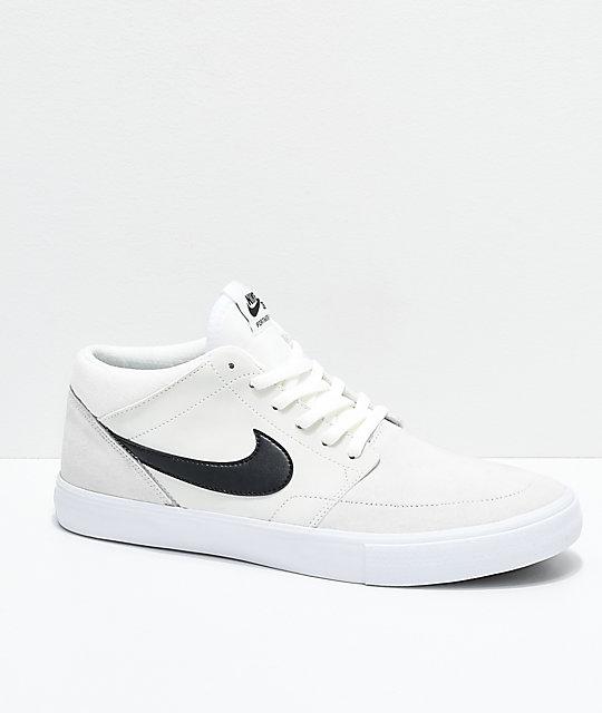 Nike SB Portmore II Mid Summit zapatos de skate negros y blancos