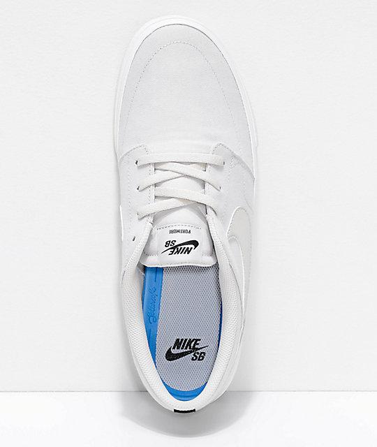 ... Nike SB Portmore II Summit White Canvas Skate Shoes ...
