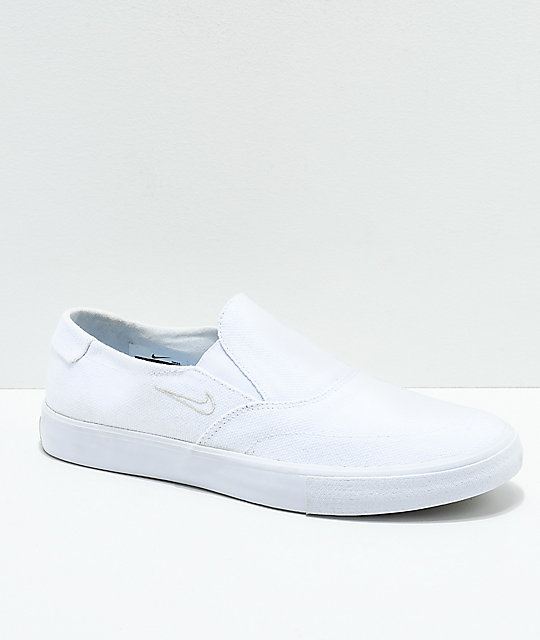 7d6349750cbdf9 Nike SB Portmore II White Canvas Slip-On Skate Shoes