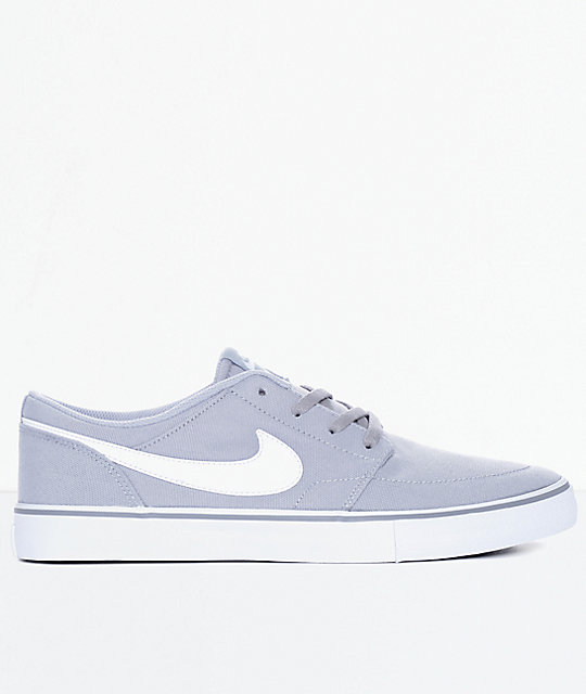 Nike SB Portmore II Wolf Grey & White Canvas Skate Shoes