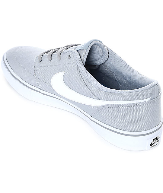 more photos aa8ba bd1f3 ... Nike SB Portmore II Wolf Grey   White Canvas Skate Shoes ...