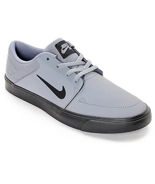 Nike SB Portmore Nubuck Grey & Black Skate Shoes ...