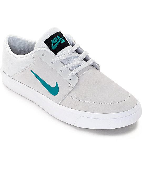 Nike SB Portmore Pure Platinum & Rio Teal Boys Skate Shoes ...