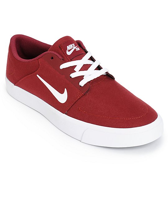 Nike SB Portmore Team Red & White Skate Shoes ...