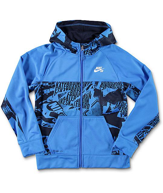 0f6613d95a19 Nike SB Print Blocked Boys Blue Thermafit Tech Fleece Jacket