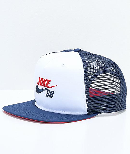 quality aliexpress best cheap Nike SB Red, White & Blue Trucker Hat