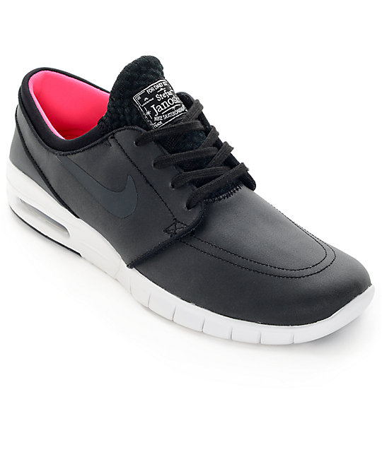 free shipping ba04d 8932c Nike SB Stefan Janoski Air Max Black, Anthracite,  White Leather Skate  Shoes  Zumiez