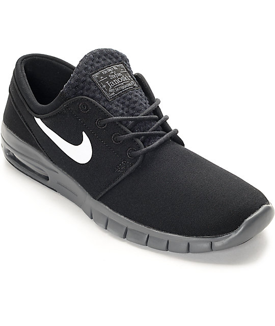 0f1d702176 Nike SB Stefan Janoski Air Max Black, White & Dark Grey Shoes | Zumiez