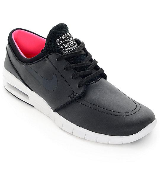 Nike SB Stefan Janoski Air Max Black, Anthracite, & White Leather Skate Shoes