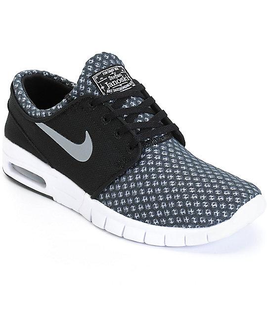2865b75b60 Nike SB Stefan Janoski Air Max Black & Cool Grey Mesh Shoes | Zumiez
