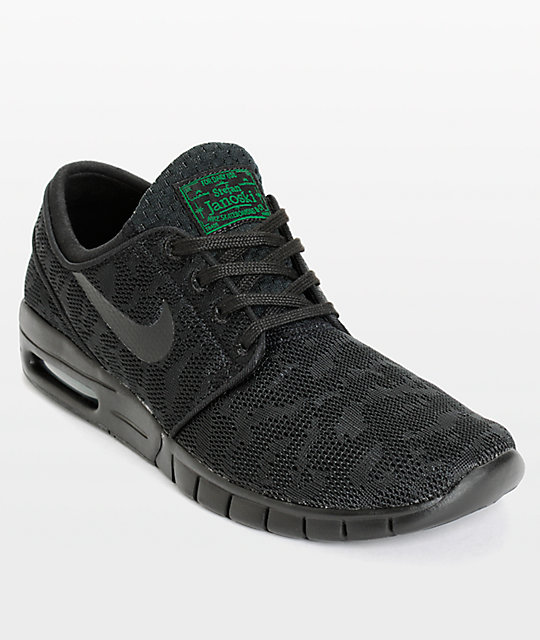 cheaper 17fc1 e7987 Nike SB Stefan Janoski Air Max Black   Pine Mesh Skate Shoes   Zumiez