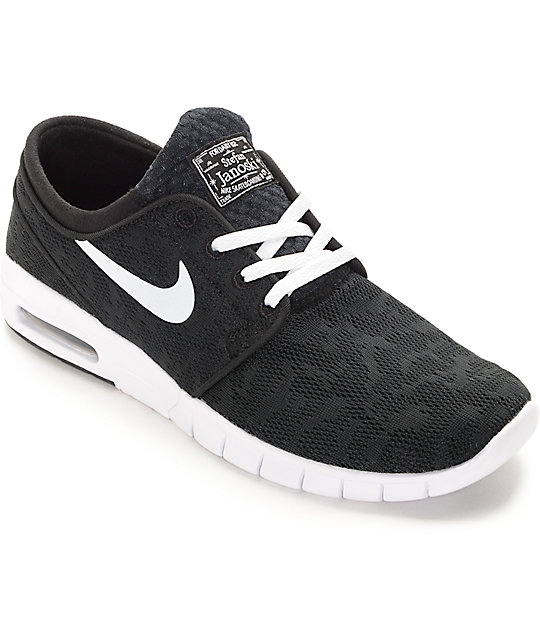 8a0a2d0b9c Nike SB Stefan Janoski Air Max Black & White Skate Shoes | Zumiez