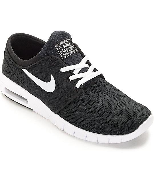 outlet for sale good service better Nike SB Stefan Janoski Air Max Black & White Skate Shoes