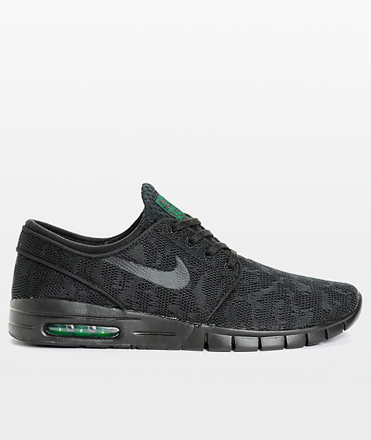 ... Nike SB Stefan Janoski Air Max Black & Pine Mesh Skate Shoes