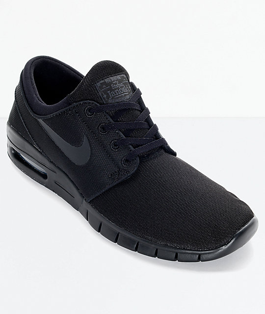 new product fd6e5 fd93c Nike SB Stefan Janoski Air Max Black and Anthracite Mesh Skate Shoes    Zumiez