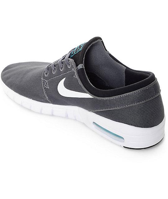 e8df209cc1 ... Nike SB Stefan Janoski Air Max Dark Grey, White, & Gamma Skate Shoes ...