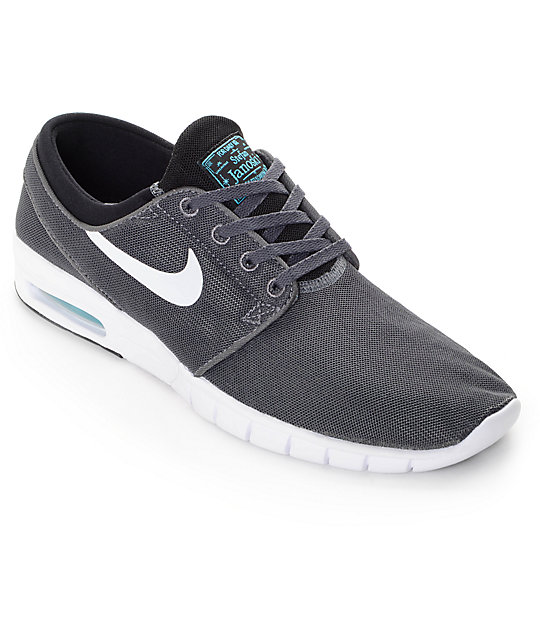 60432e0f24 Nike SB Stefan Janoski Air Max Dark Grey, White, & Gamma Skate Shoes |  Zumiez