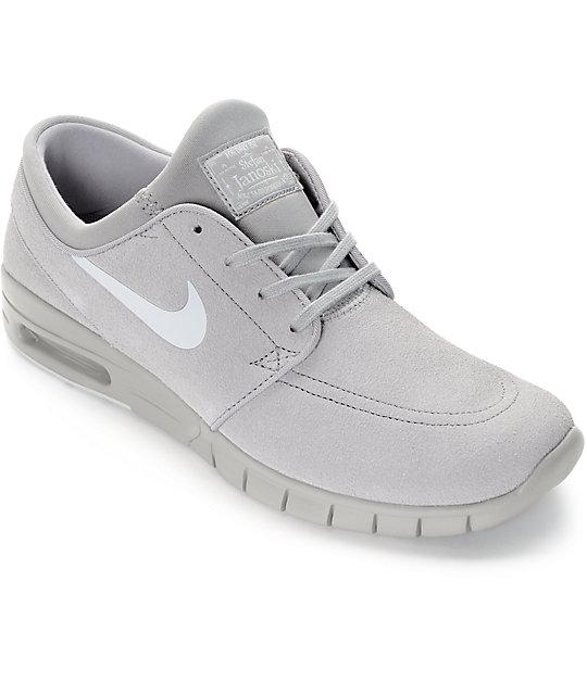 034c4167e8 Nike SB Stefan Janoski Air Max Matte Silver & Pure Platinum Grey Skate  Shoes | Zumiez.ca