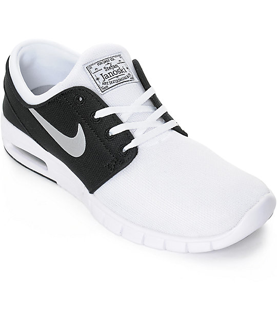 d3044ff6a2 Nike SB Stefan Janoski Air Max White, Silver, & Black Mesh Shoes   Zumiez