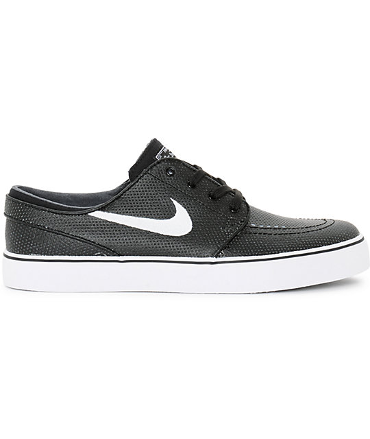 Nike SB Stefan Janoski Black, White, & Wolf Grey Leather Skate Shoes