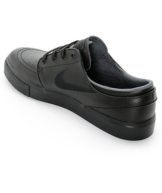 Nike SB Stefan Janoski Black & Anthracite Leather Skate Shoes