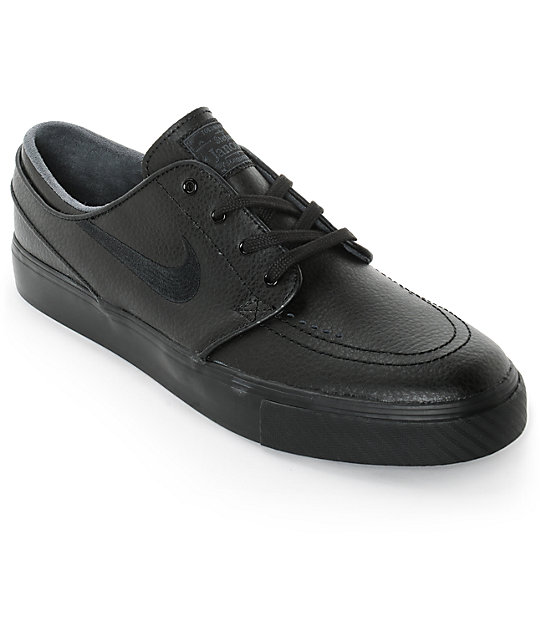 low price 100% authentic online store Nike SB Stefan Janoski Black & Anthracite Leather Skate Shoes
