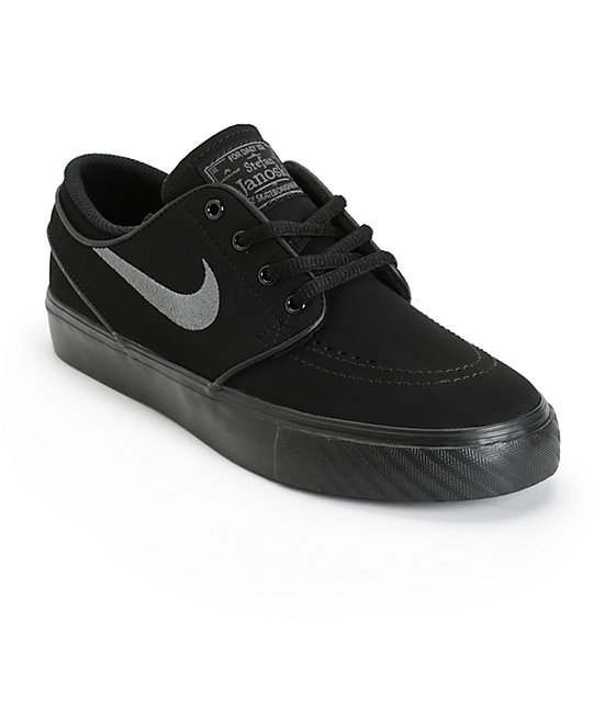 Nike SB Stefan Janoski Black & Anthracite Boys Skate Shoes ...