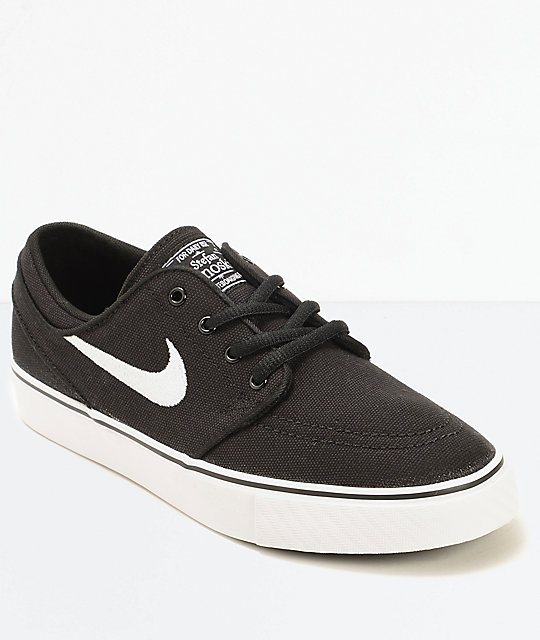 45b5af1b327 Nike SB Stefan Janoski Black Canvas Kids Skate Shoes