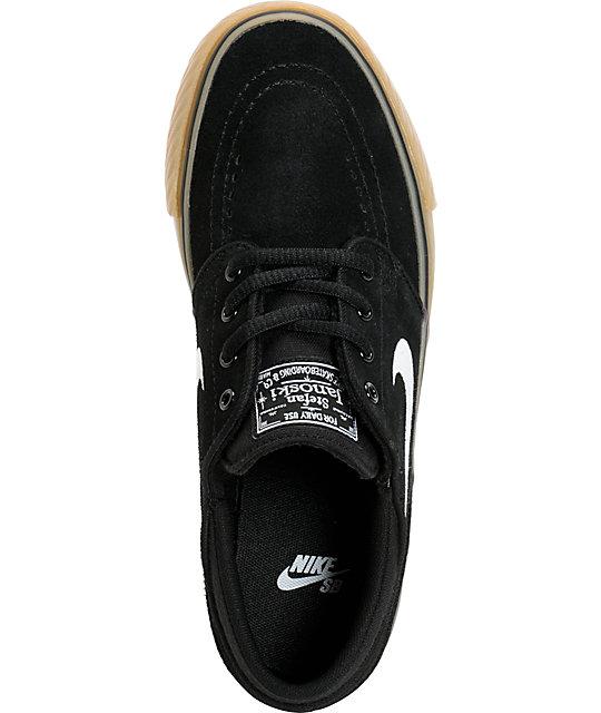 new product c9ea6 cfdee ... Nike SB Stefan Janoski GS Black, White, & Light Brown Gum Kids Shoes ...