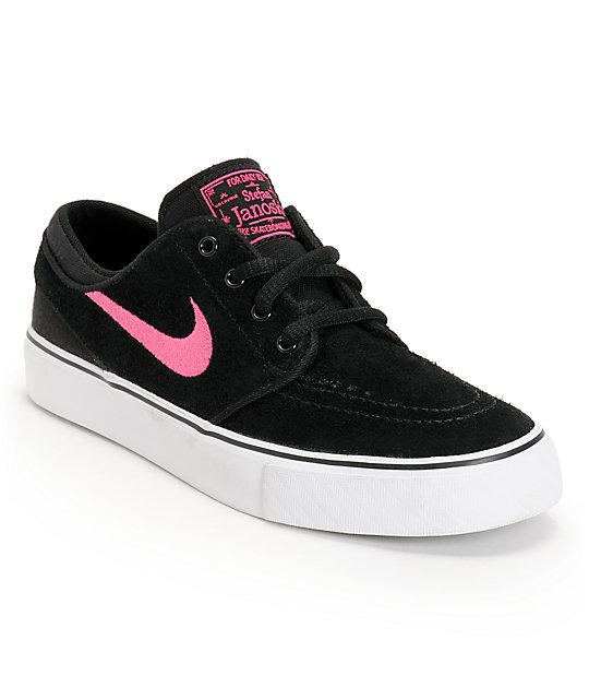 online store 68636 1abf4 Nike SB Stefan Janoski GS Black & Pink Foil Kids Skate Shoes | Zumiez