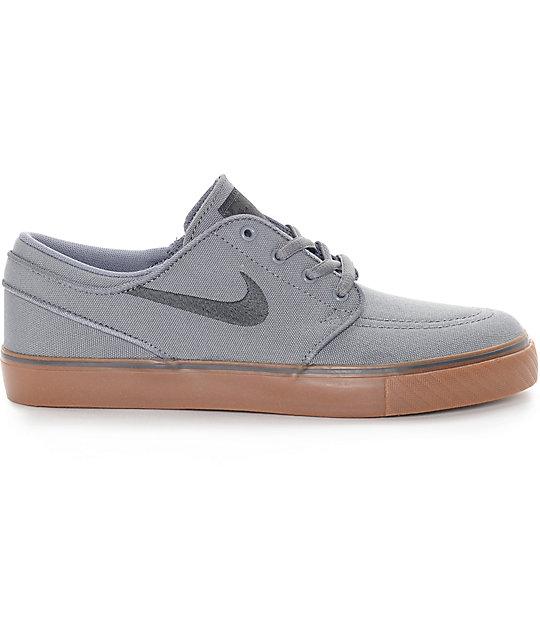 Accesible detrás emocional  Nike SB Stefan Janoski Grey & Gum Canvas Boys Skate Shoes | Zumiez