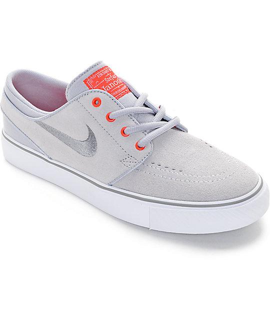 Nike SB Stefan Janoski Grey   Infared Boys Skate Shoes  58ed283eeb63