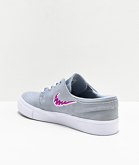Nike SB Stefan Janoski Kids Light Blue & Purple Skate Shoes