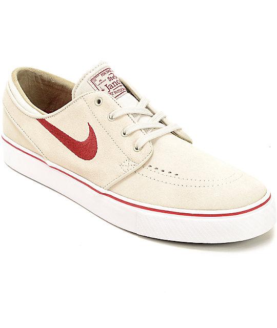 Nike SB Stefan Janoski Light Bone   Red Skate Shoes  7c65c2cb4a