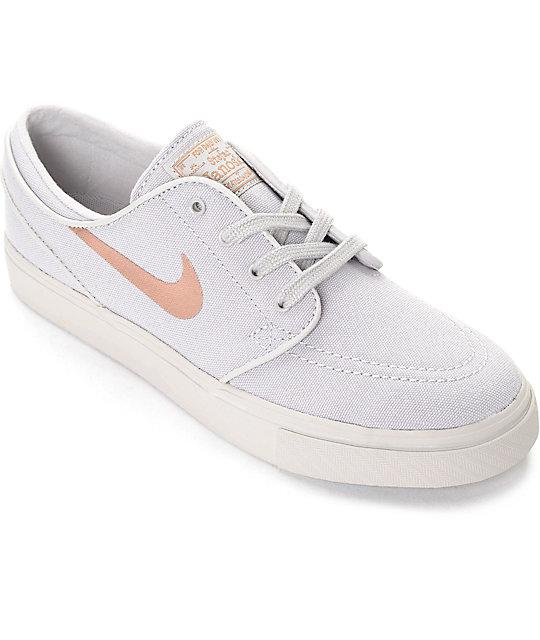 hot sales new high san francisco Nike SB Stefan Janoski Light Iron Ore & Bronze Canvas Womens Skate Shoes