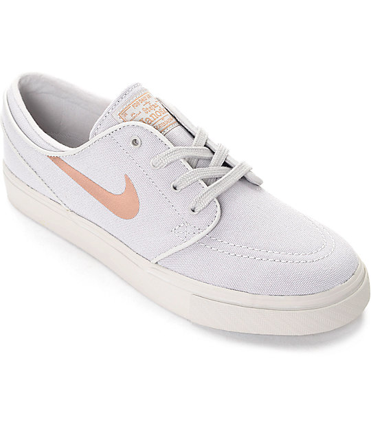 Nike SB Stefan Janoski Light Iron Ore & Bronze Canvas Womens Skate Shoes ...