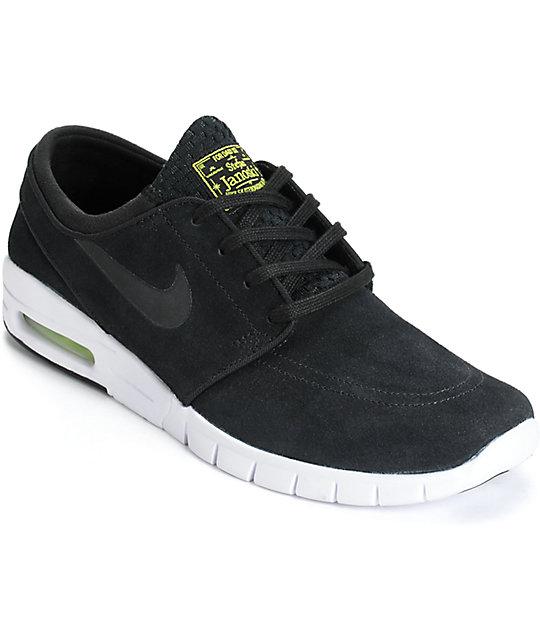 wholesale dealer fbbed ba8ea Nike SB Stefan Janoski Max zapatos de colores negro, cyber, y blanco ...