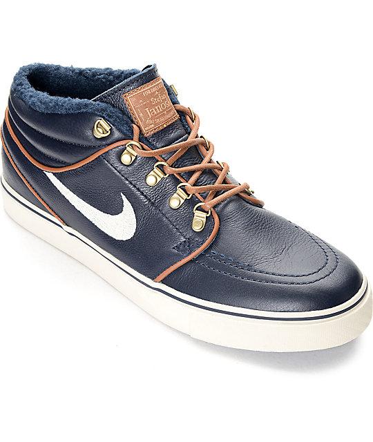 Nike SB Stefan Janoski Mid Premium Dark Obsidian Skate Shoes ...