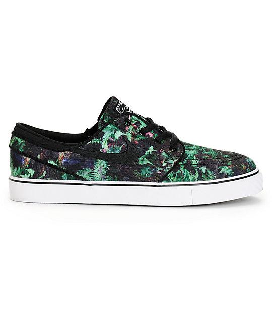 Nike SB negro Stefan Janoski PR zapatos de skate negro SB y verde garganta 750f6e