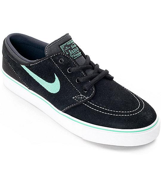 39c9c71a7dc Nike SB Stephan Janoski Black   Green Glow Boys Skate Shoes