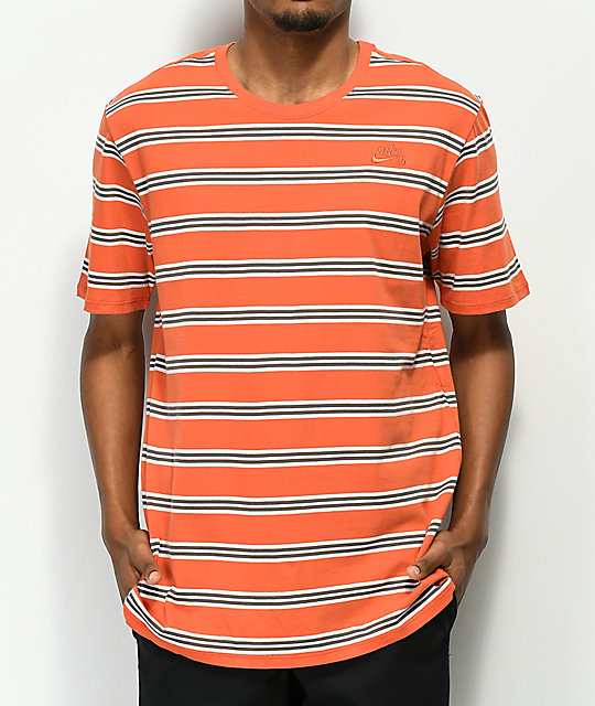 dd9df1f1d598 Nike SB Summer Stripe Orange T-Shirt