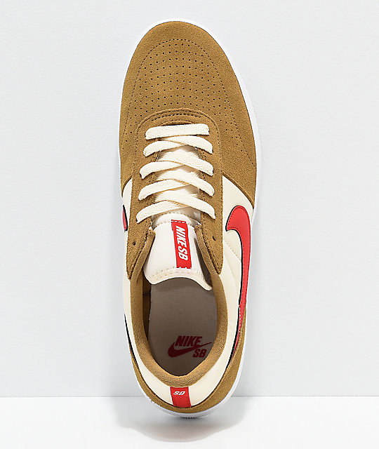 Nike SB Team Classic Golden Beige & Red Skate Shoes