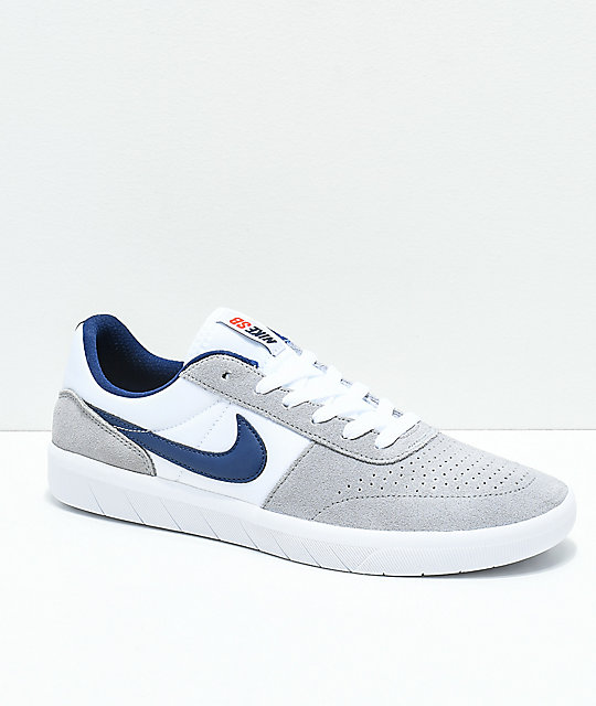 Nike SB Team Classic Wolf Grey & White Skate Shoes ...