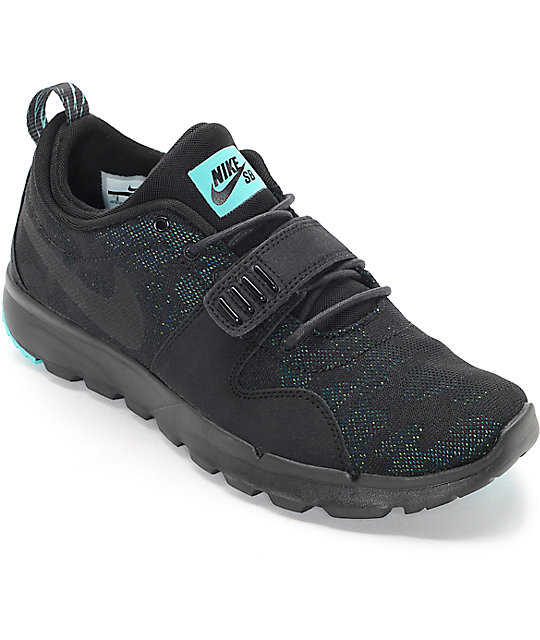 newest collection e8ae2 fa266 Nike SB Trainerendor Black, Black   Jade Shoes   Zumiez