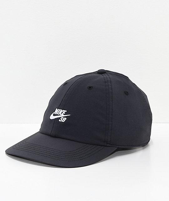nuevas variedades Nueva York calidad Nike SB True Cap gorra negra y blanca