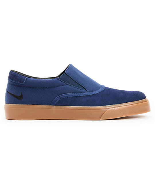 Nike SB Verona Midnight Navy & Gum Canvas Slip On Skate Shoes